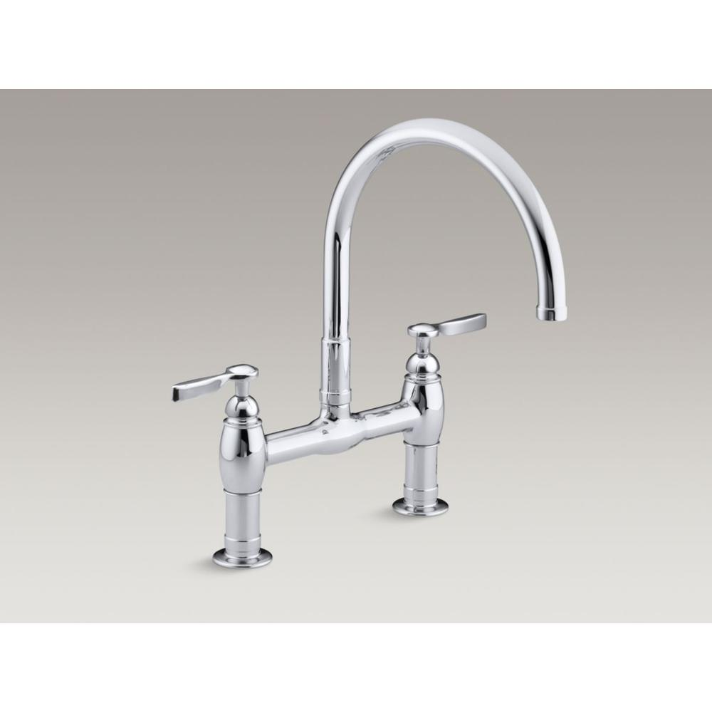 kitchen faucets bridge general plumbing oil rubbed two handle bridge style kitchen faucet with matching side