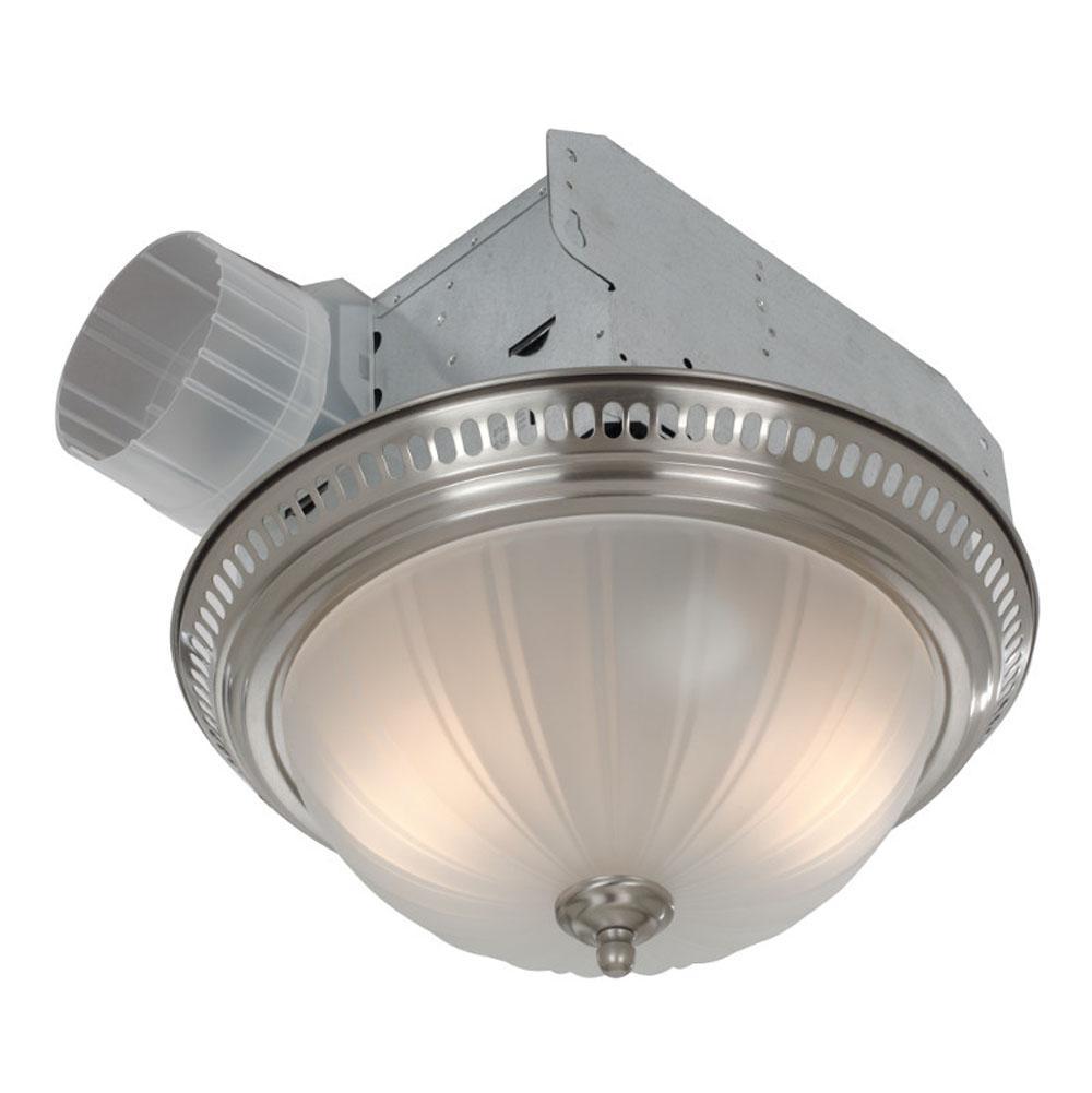 Bathroom Heating And Ventilation Bath Exhaust Fans Nickel Tones - Central bathroom exhaust fan